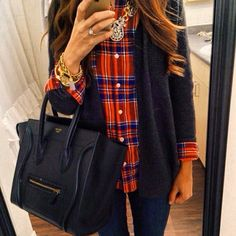 red blue plaid, blue long cardgian, sparkly necklace, jeans