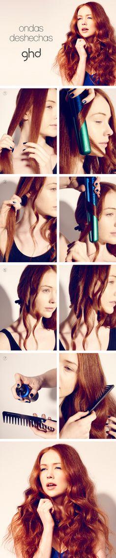 Procedimiento: Textura despeinada con ondas #cabello #lookghd #summerhair