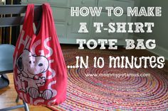 How to make an old t-shirt into a CUTE tote bag/ farmer's market bag in 10 minutes. This. Is. Awesome!