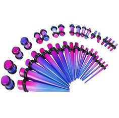 BodyJ4You® 36 Pieces Gauges Kit Radiance Blue and Purple Tapers with Plugs 14G-00G Stretching Kit - 18 Pairs
