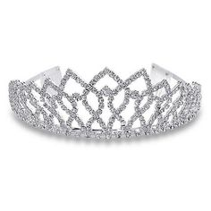 Bling Jewelry Royal Crown Rhinestone Princess Silver Tiara ($31) ❤ liked on Polyvore
