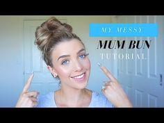 Here is how I do my quick and easy everyday mum bun! Messy Bun Updo, Cute Messy Buns, Easy Updo Hairstyles, Work Hairstyles, Hairstyle Ideas, Bun Tutorials, Makeup Tutorials, Makeup Tips, Hair Magazine