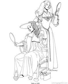 Renaissance Costumes and  Clothing Coloring Pages 29