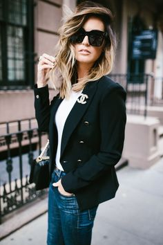 chic and casual look for New York Fashion Week via For All Things Lovely | Club Monaco blazer, Prada black bow pumps, FRAME jeans, Topshop tee, Chanel handbag, and Celine sunglasses for a head-to-toe classic vibe | #NYFW
