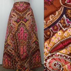 Vintage 60s 70s Moroccan Bohemian Gypsy Ethnic Quilted Maxi Skirt by GGMMVintage, etsy