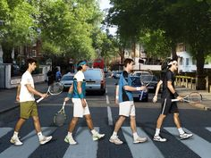 """The Fab Novak Djokovic, Rafael Nadal, Andy Murray and Roger Federer (Abbey Road) Rafael Nadal, Roger Federer, Sport Tennis, Play Tennis, Atp Tennis, Wimbledon, French Open, Australian Open, Vive Le Sport"