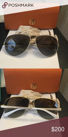 Tory Burch polarized aviators Like new condition may have minor scratches as were worn a couple of times but can't see any! Polarized!!! Cheaper on MER Tory Burch Accessories Glasses