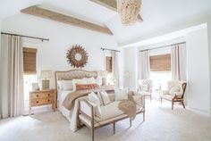 The simple, warm, neutral colors make perspective buyers feel at home in the staged space. Luxury White Bedroom Furniture, Tan Bedroom, All White Bedroom, Large Bedroom, Bedroom Colors, Bedroom Decor, Master Bedrooms, Bedroom Ideas, Bedroom Beach