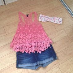 Flower power tank See thru floral knit tank (bandeau and shorts not included) Tops Tank Tops