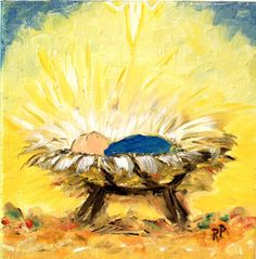 2014 Christmas Baby in Manger Nativity of Jesus bright yellow background canvas painting -