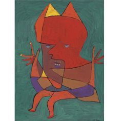 Paul Klee (1879-1940), Figurine: Kleiner Fürtüfel (Figurine: Small Fire Devil), 1927 (177). Tempera on paper laid down on card. 33.3cm H x 25.1cm W.
