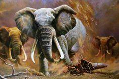 油絵 油彩「動物画」 象 一級芸術の画家肉筆画_画像1 Animal Paintings, Elephant, Auction, Animals, Animales, Animaux, Pet Pictures, Elephants, Animal