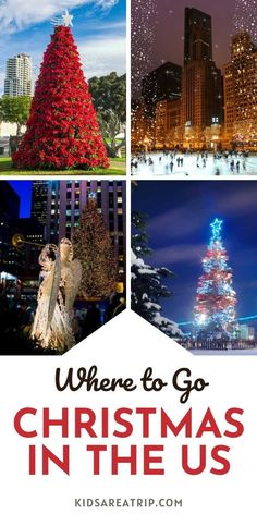 If you are considering traveling for the holidays, but don't know where to go for Christmas, we have some ideas. Everything from small towns to big cities make for the perfect places to celebrate Christmas in the US. - Kids Are A Trip |Christmas travel| Christmas trip| where to go for Christmas US| Christmas travel ideas
