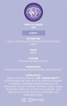 Third Eye Chakra 101 courtesy of ADORAtherapy™ #aromatherapy #adoratherapy #chakra #essentialoils #affirmation #meditation #clarity