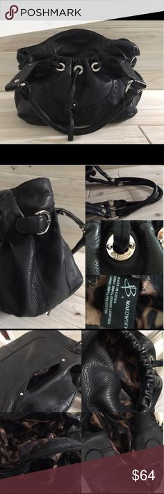 """B. Makowsky Medium Black Leather Hobo Handbag LN! Like New B. Makowsky 100% thick soft Leather Black medium sized Hobo Handbag, purse. Hardly used, like new! Six usable pockets: small pocket at back, medium pocket at front with decorative cord, 2 divided large pockets inside purse upon opening with the divider being a large zippered pocket, inner zippered pocket at back of purse. Silver hardware, """"B. Makowsky"""" imprinted front & side buckles. No zipper at top, has strong Magnetic closure…"""