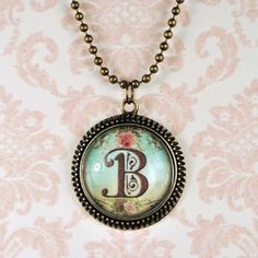 Vintage Initial Necklace  Personalized Jewelry  by glassrealm, $11.95