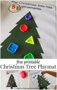 Another pinner: Christmas Tree Play Mat. Use with playdough or loose parts for creative counting fun. Add dice for a Christmas addition or subtraction game. Christmas Activities For Kids, Preschool Christmas, Free Christmas Printables, Christmas Themes, Kids Christmas, Christmas Crafts, Free Printables, Xmas, Craft Activities
