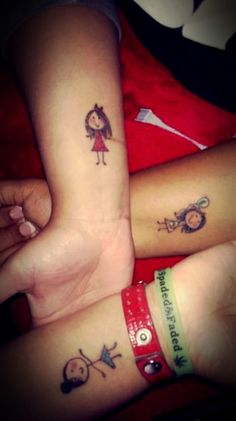 Friendship Tattoos. If you're brave and know you have a good strong solid friendship what better way to show it in a tattoo that bind you guys together. Me and my two best friends decided to get stick figures that reflect ourselves. It's different and unique and we love it <3