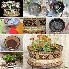 DIY  Wonderful Mosaic Planter Using Old Wheel Rim