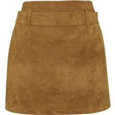 **Nadia Skirt by Motel ($47) ❤ liked on Polyvore featuring skirts, mini skirts, tan, tan skirt, short brown skirt, short mini skirts, high waisted skirts and mini skirt