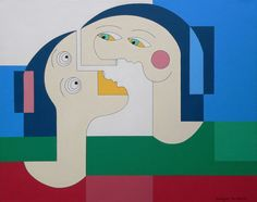 Flying Lovers - Original Modern Painting - Stunning original artworks by modern artist Hildegarde Handsaeme are now being exhibited on www.TheGlobalArtCompany.com visit the gallery today