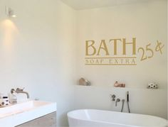 Buy this quality humorous bath wall sticker quote, which reads 'bath soap extra'. Bathroom Wall Stickers, Wall Stickers Quotes, Wall Decal Sticker, Wall Quotes, Bathroom Vanity Cabinets, Washroom, Bathroom Quotes, Beautiful Wall, Small Bathroom