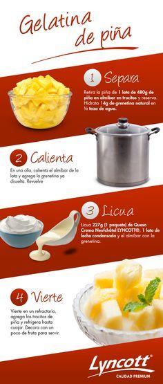Gelatina de piña Gelatin Recipes, Jello Recipes, Snack Recipes, Dessert Recipes, Cooking Recipes, Mexican Jello Recipe, Mexican Food Recipes, Sweet Recipes, Tasty