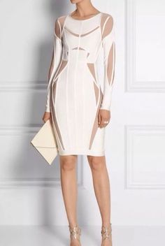 Bandage Celebrity White Long Sleeve Luxury Evening Formal Cocktail Party Dress #Unbranded #StretchBodycon #Cocktail
