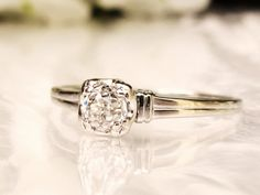 Antique Engagement Ring 0.36ct Old by LadyRoseVintageJewel on Etsy