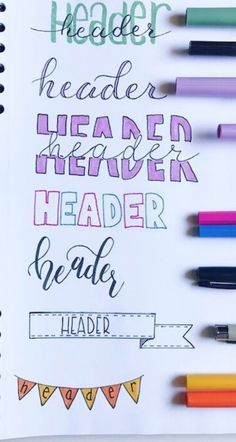 Use these examples and brief tutorials to add fun creative headers to your bullet journal. From beginner to more advanced, you can easily add some decoration to your journal. Bullet Journal School, Bullet Journal Alphabet, Journal Fonts, Bullet Journal Notebook, Bullet Journal Ideas Pages, Bullet Journal Inspiration, Journal Pages, Beginner Bullet Journal, Bullet Journal Decoration