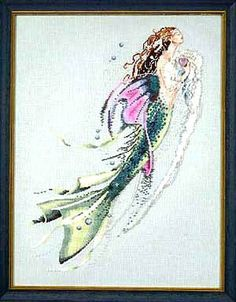 Mermaid of the Pearls is the title of this cross stitch pattern from Mirabilia. Click on highlighted link to add the embellishment pack.