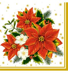 roseoftheparty: Cocktail size three poinsettia Christmas napkins paper napkin Pol Maki 20 cards decoupage - Purchase now to accumulate reedemable points! Christmas Scenes, Christmas Art, Xmas, Decoupage, Easy To Grow Houseplants, Inside Plants, Illustration Art Drawing, Vintage Christmas Images, Christmas Napkins