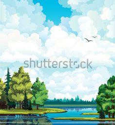 Летний Зеленый Пейзаж С Деревьями Вблизи Группы Белые Кучевые Облака На Голубое Лес И стоковый вектор - Clipart.me