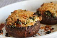 stuffed portobello mushrooms with tomatoes, peppers and feta