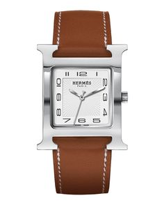 Heure H Watch on a Natural Barenia Strap, white - Hermès Timepieces