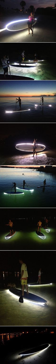 An accessory for paddle boards to make them safer to use at night. By attaching a custom-made, permanent strip of LED lights around the border of a board, surfers are given a source of light to guide them at night and illuminate the ocean floor below them Sup Stand Up Paddle, Paddle Boat, Wakeboard, Sup Yoga, Adventure Is Out There, Paddle Boarding, Water Sports, The Great Outdoors, Places To Go