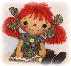 Doek Doll patroon, PDF patroon, Rag Doll naaien patroon, primitieve raggedy ann annie, digitale download, instant download