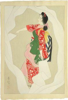 Yamakawa Shuho (1898-1944), Nuno-sarashi 'Cloth-Bleaching' Dance (Nuno-sarashi dori), signed Shuho with red artist's seal Shu, with pencil inscription with alternate title on the right-hand margin, Sarashi-me (woman with long cloth), ca. 1936; dai oban tate-e 17 1/4 by 11 7/8 in., 43.9 by 30.3 cm