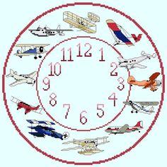 Aeroplane Themed Cross Stitch Clock Chart / by IpeksGemBoxUK