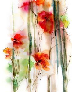 Abstract Red Flowers Fine Art Print, flowers watercolor painting art, floral abstract botanical mode