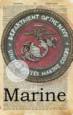 PRINT:  Marine Emblem Mixed Media Drawing on Antique Dictionary by flyingshoes