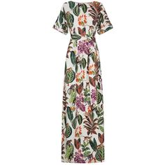Oscar de la Renta Tropical Print Kaftan (164.290 RUB) ❤ liked on Polyvore featuring tops, tunics, caftan tunic, kaftan tunic, short sleeve tops, tie belt and white kaftan