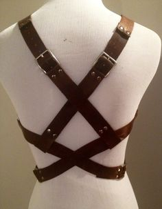 Leather Harness Criss Cross or Straight Back Buckle Straps Leather Vest Harness Belt Leather Belt Shirt (150.00 USD) by NorthandHudson