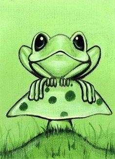 Art 'Spot Of Green' from Exhibit Entries by artist Elaina Wagner Mushroom Drawing, Mushroom Art, Funny Frogs, Cute Frogs, Cartoon Drawings, Animal Drawings, Art Drawings, Cartoon Cartoon, Frosch Illustration