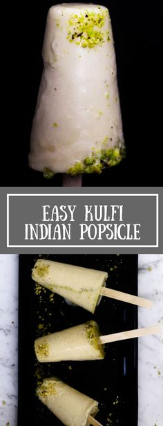 Kulfi is a popular Indian cream popsicle. Usually made by boiling milk (malai), this is an easy kulfi recipe with evaporated milk, condensed milk, cardamon and pistachio. Only takes 5 minutes to make this ice cream. Beat the summer heat with this unique and easy cream popsicle.