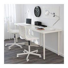 LINNMON / ADILS Table - white - IKEA. I might just have to do this for my side of the office (with different legs). It's the most cost effective and it fits in the space..it looks functional.. maybe some day I will have my dream office, sigh