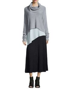 Lofty Cashmere Cowl-Neck Box Top, Silk Asymmetric Draped Shell & Merino Pleated Long Skirt by Eileen Fisher at Neiman Marcus.
