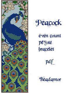 Peyote Pattern for bracelet: Peacock- INSTANT DOWNLOAD pdf