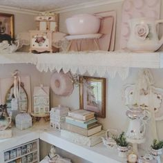 Romantic Shabby Chic, Shabby Chic Pink, Open Shelving, Shelves, Shabby Chic Kitchen, Cottage, Furniture, Instagram, Home Decor