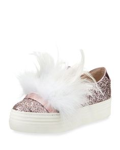 1fecc9d5482 Here Now Lesley Glitter Feather-Embellished Sneaker